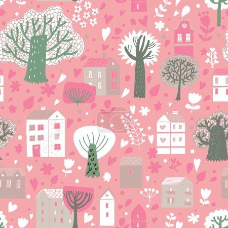 Ilustración de Pueblo romántico en el vector. cute dibujos animados casas y árboles. patrones sin fisuras pueden utilizarse para fondos de pantalla, rellenos de patrón, página web fondos, texturas superficiales. - Imagen libre de derechos