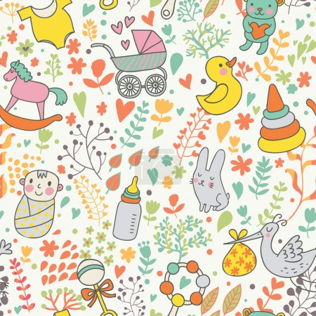 Illustration for Childhood concept seamless pattern. Toys, animals, childish elements in vector. Cartoon background. Can be used for wallpaper, pattern fills, web page background,surface textures. - Royalty Free Image