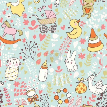 Childhood concept seamless pattern. Toys, animals, childish elements in vector. Cartoon background. Can be used for wallpaper, pattern fills, web page background,surface textures.