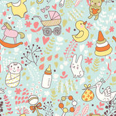 Childhood concept seamless pattern Toys animals childish elements in vector Cartoon background Can be used for wallpaper pattern fills web page backgroundsurface textures