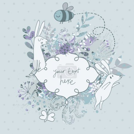 Vintage floral wedding invitation with cute rabbits. Nice vector card. Ideal for any types of invitation in retro style.