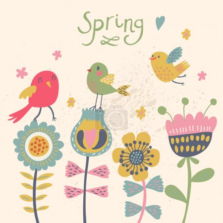 Cute cartoon birds on flowers. Bright floral background in vector. Childish vintage elements
