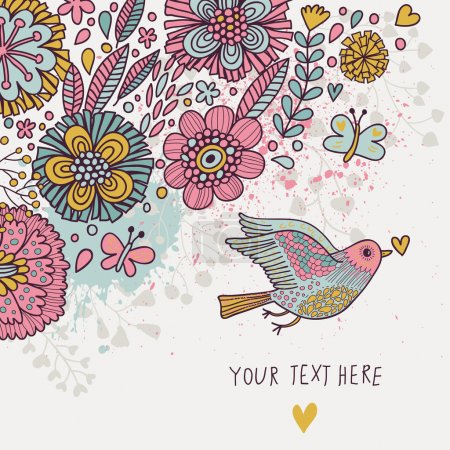 Illustration for Colorful vintage background. Pastel colored floral wallpaper with bird and butterflies. Cartoon romantic card in vector - Royalty Free Image