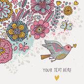"""Постер, картина, фотообои """"Красочный ретро фон. Пастель цветные цветочные обои с птиц и бабочек. Мультфильм романтический карт в векторном"""""""