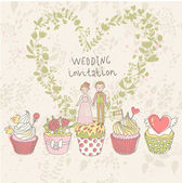 Cute wedding invitation Couple in love on tasty cupcakes with heart made of flowers Romantic background in cartoon style Ideal for wedding cards and Save the Date invitations