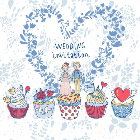 Cute wedding invitation. Couple in love on tasty cupcakes with heart made of flowers. Romantic background in cartoon style. Ideal for wedding cards and Save the Date invitations
