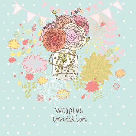 Floral wedding invitation. Flowers in jar - cartoon vector background. Spring concept wallpaper in pastel colors