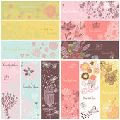 Floral banners in vector set 12 floral cards Summer spring and autumn concept banners