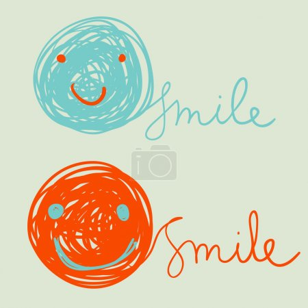 Funny colorful smiles . Positive emotions