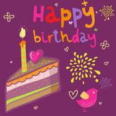 Kreslený narozeninový dort ve vektoru
