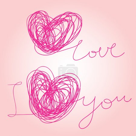 I love you - written vector text