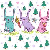 Cartoon rabbits in vector