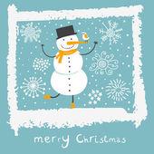 Christmas background with cartoon snowman