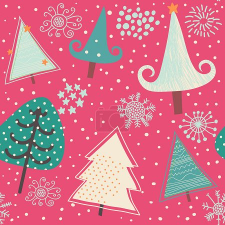 Holiday seamless pattern with cartoon trees