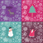 4 cartoon Christmas and New Year backgrounds