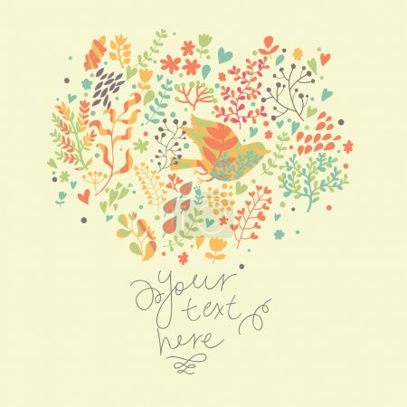 Bright light floral background. Cute vintage card in vector. Ideal for stylish wedding invitations