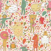 Funny cartoon animal musicians - lion horse elephant monkey leopard pig and others Seamless pattern can be used for wallpapers pattern fills web page backgrounds surface textures