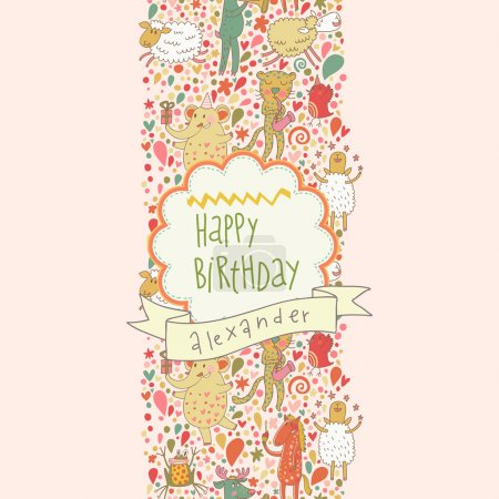 Cartoon animals playing music. Leopard, horse, sheep and others cute Happy birthday card. Seamless pattern can be used for wallpapers, pattern fills, web page backgrounds, surface textures.