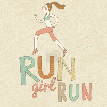Run, girl, run. Cute cartoon girl running. Health care concept in vector