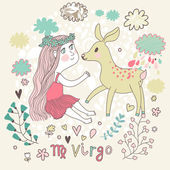 Cute zodiac sign - Virgo Vector illustration Little beautiful girl with long hair playing with lovely fawn with in the clouds and flowers Doodle hand-drawn style