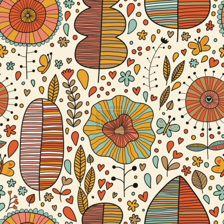 Summer floral wallpaper in vector
