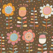Cartoon flowers. Cute seamless pattern with bright...