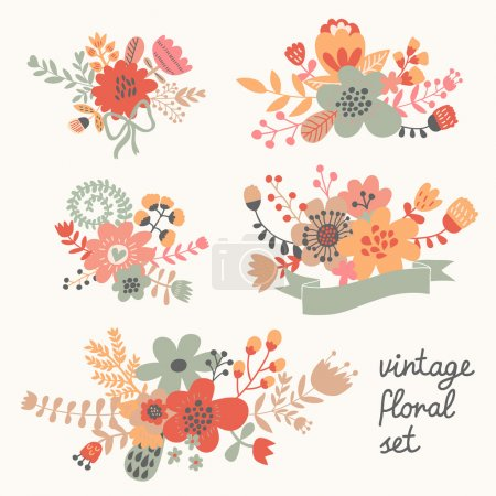 Vintage flowers in vector.