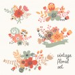 Vintage flowers in vector. Cute floral bouquets. V...