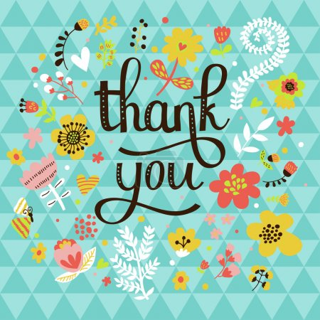 Illustration for Thank you! Bright cartoon card made of flowers and butterflies. Floral background in summer colors - Royalty Free Image