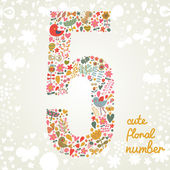 The number Five Bright floral element of colorful alphabet made from birds flowers petals hearts and twigs Summer floral ABC element in vector