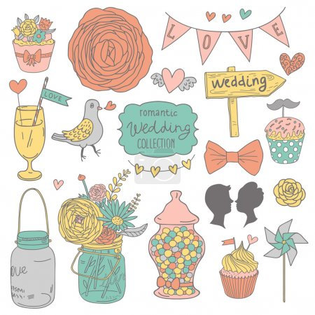 Illustration for Vintage vector wedding set. Flowers, lovers, cupcakes, pigeons, cocktail, bouquet, candies and hearts in modern pastel colors. - Royalty Free Image