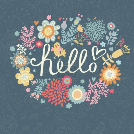 Bright summer card on floral seamless background.