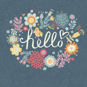 Bright summer card on floral seamless background