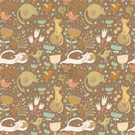Illustration for Cute funny cats in hearts, birds and flowers. Seamless pattern can be used for wallpapers, pattern fills, web page backgrounds, surface textures. - Royalty Free Image