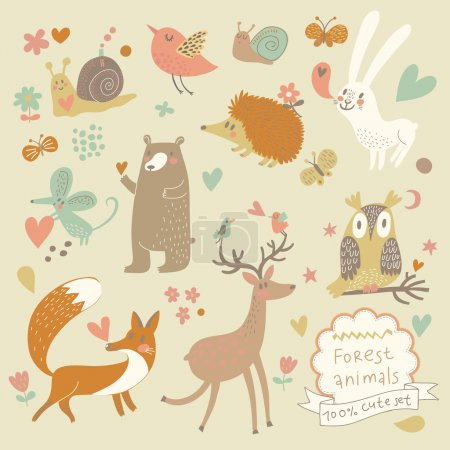 Illustration for Cartoon set of cute wild animals in the forest: bear, fox, hedgehog, rabbit, snail, deer, owl, bird, mouse. Vintage childish set in vector. - Royalty Free Image