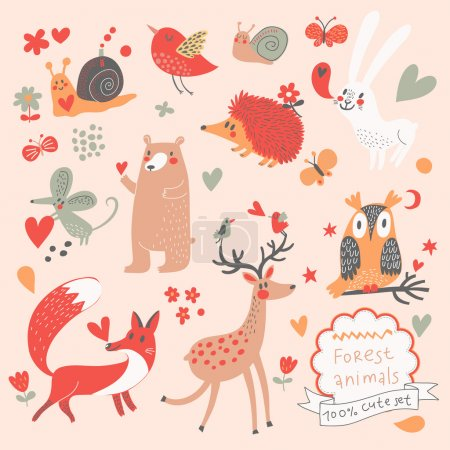 Cartoon set of cute wild animals in the forest