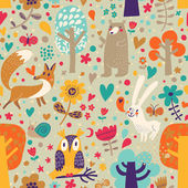 Stylish floral seamless pattern with forest animals