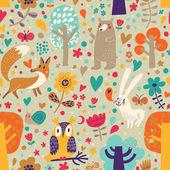 Stylové květinové bezešvé vzor s lesní zvířata