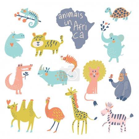 Illustration pour Animaux africains : iguane, tortue, éléphant, tigre, hippopotame, crocodile, rhinocéros, lion, gorille, chameau, autruche, girafe, zèbre vecteur. Animaux de dessin animé drôles dans des couleurs vives. Ensemble enfant - image libre de droit