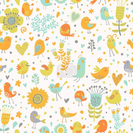 Illustration for Retro garden seamless pattern, flowers and birds. Vintage texture in pastel colors - Royalty Free Image