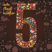 The number 5 Bright floral element of colorful alphabet made from birds flowers petals hearts and twigs Summer floral ABC element in vector