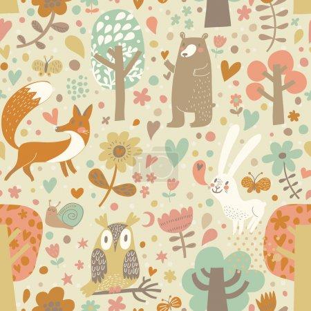 Illustration pour Élégant motif floral sans couture avec des animaux de la forêt : ours, renard, hibou, lapin. Fond vectoriel avec papillons, escargot, arbres et fleurs aux couleurs vives . - image libre de droit