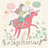 Cute zodiac sign - Sagittarius Vector illustration Little girl riding on pink horse and shooting arrows Background with flowers and clouds Doodle hand-drawn style