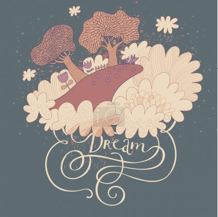 Illustration for Cute vector background with mountain in the clouds. Dream landscape with trees, flowers and fox in the night. Loneliness concept. - Royalty Free Image
