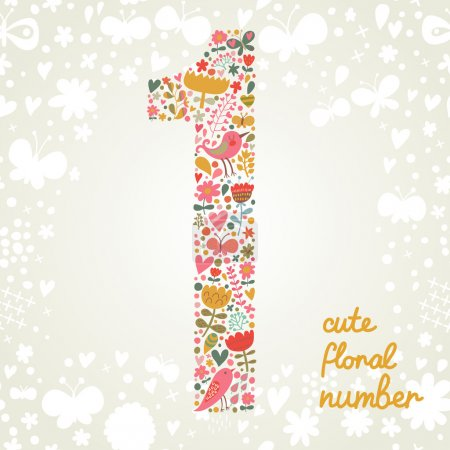 Illustration pour Le numéro un. Élément floral lumineux de l'alphabet coloré composé d'oiseaux, fleurs, pétales, coeurs et brindilles. Éléments ABC floraux d'été dans le vecteur - image libre de droit