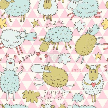 Photo pour Bande dessinée drôle moutons dans le ciel. fond enfantin dans le vecteur. Modèle sans couture peut être utilisé pour les fonds d'écran, remplissage de modèle, arrière-plans de page Web, textures de surface . - image libre de droit