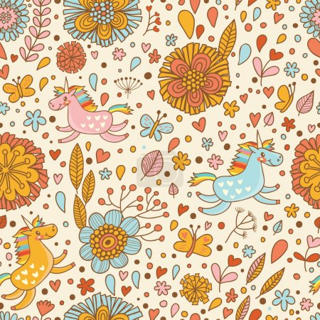 Cute floral seamless pattern with small rainbow unicorns.