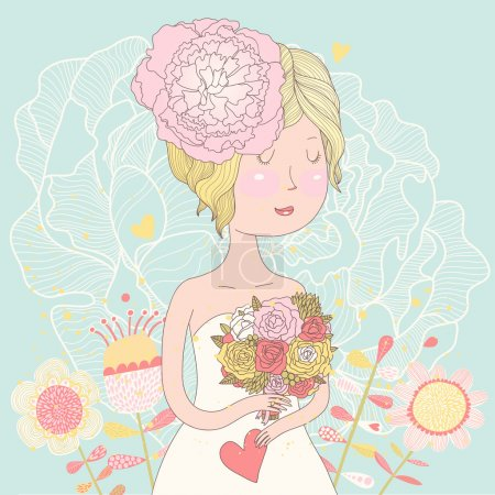Beautiful blonde bride with bouquet made of ranunculuses