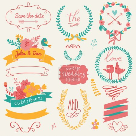 Illustration for Wedding gentle collection with labels, ribbons, hearts, flowers, arrows, wreaths, laurel and birds. Graphic set in retro style. Save the Date invitation in vector. - Royalty Free Image