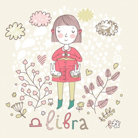 Illustration for Cute zodiac sign - Libra. Vector illustration. Little girl riding on pink horse and shooting arrows. Background with flowers and clouds. Doodle hand-drawn style - Royalty Free Image